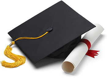 image of a graduation cap and diploma